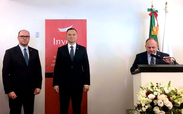 W otwarciu Zagranicznego Biura Handlowego w Meksyku uczestniczył prezydent Duda, oraz przedstawiciele zarządu PAIH Krzysztof Senger i Wojciech Fedko