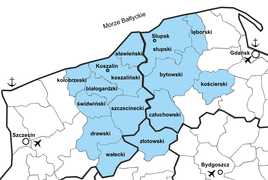 Map of the area administered by the Słupsk Special Economic Zone
