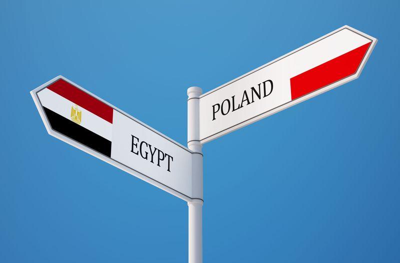 Rynki arabskie szansą dla polskich przedsiębiorców - drogowskaz z napisami i flagami Poland i Egypt